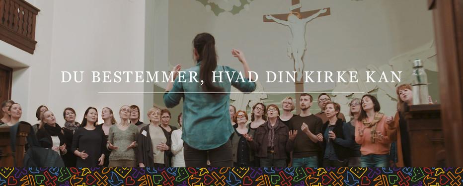 Billede af kor med teksten, du bestemmer, hvad din kirke er
