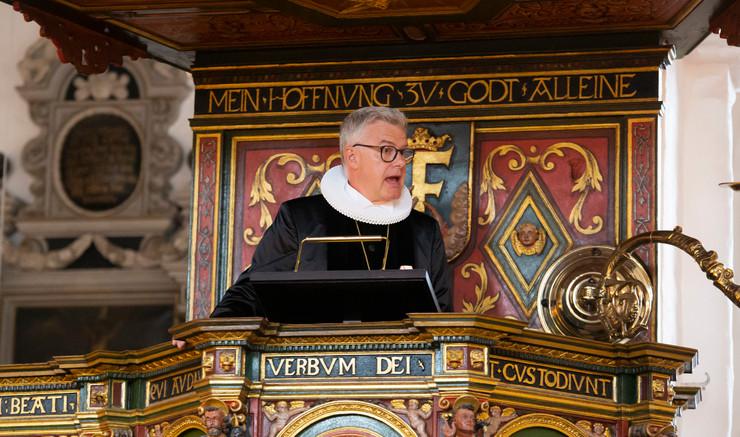 Peter Birch på prædikestolen i Helsingør Domkirke