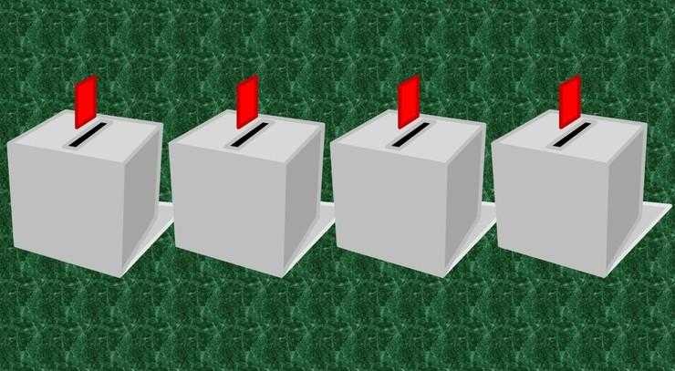 Billede af fire stemmeurner